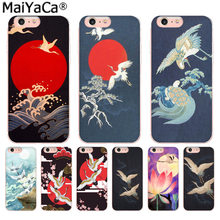 MaiYaCa japanese art crane Luxury High-end phone Case for iphone 11 pro 8 7 66S Plus X 5S SE XR XS XS MAX Cover(China)