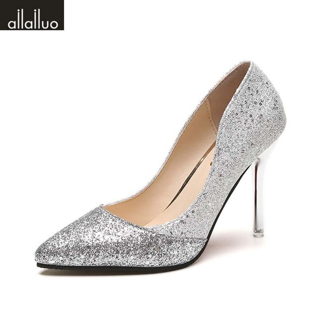 93a58336e25e Sexy High Heel Pumps Thin Heels Pointed Toe Bling Party Wedding Dress Shoes  Silver Champagne Black