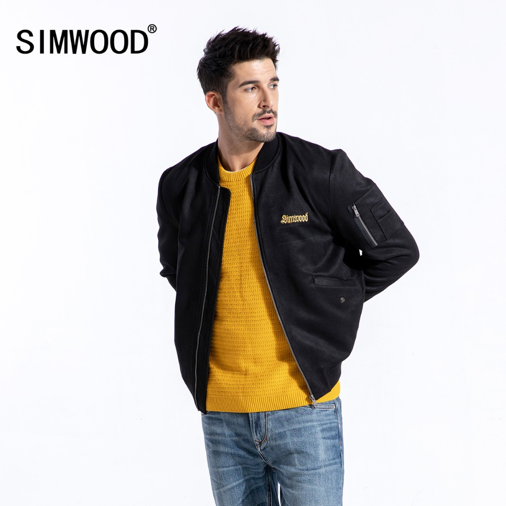 SIMWOOD 2019 العلامة التجارية الشتاء سترة بجلد مزأبر الرجال الأزياء المطرزة سميكة معاطف عالية الجودة قميص سترات من الجلد 180582-في جواكت من ملابس الرجال على  مجموعة 1
