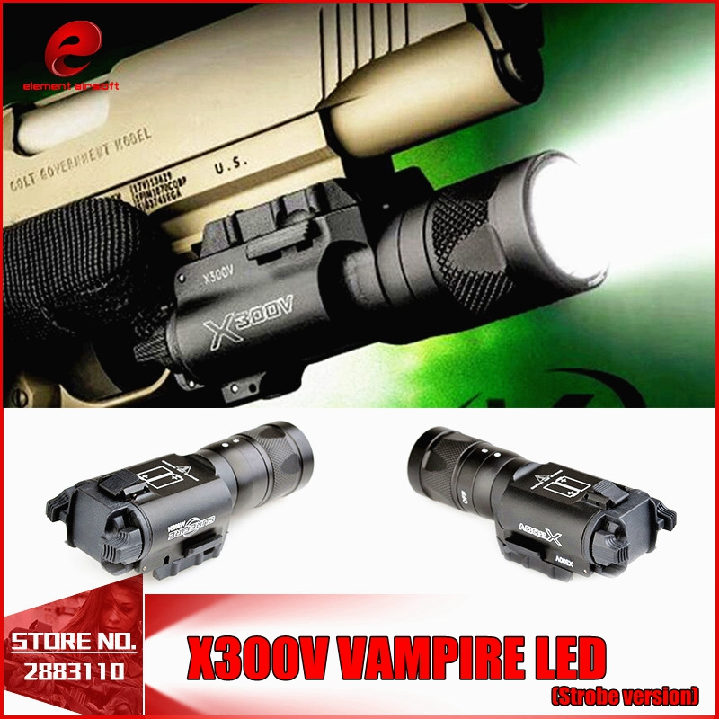 Element SF X300 V Pistol tactical falshlight Vampire LED Strobe version For Airsoft EX381 waterproof and shockproof FOR WARGAME greenbase tactical weapon light sf x300 hunting flashlight airsoft pistol scout light constant momentary output picatinny rail