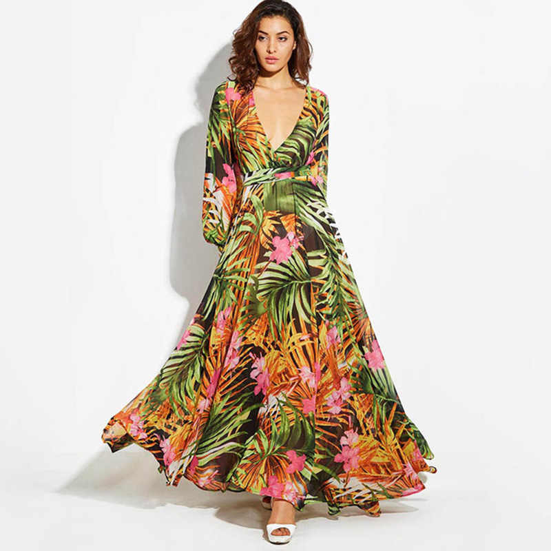 Aecu Musim Panas Maxi Gaun Wanita Plus Ukuran Panjang Deep V Leher Cetak Gaun Pesta Lace-Up Wanita Seksi bohemian Gaun Vintage
