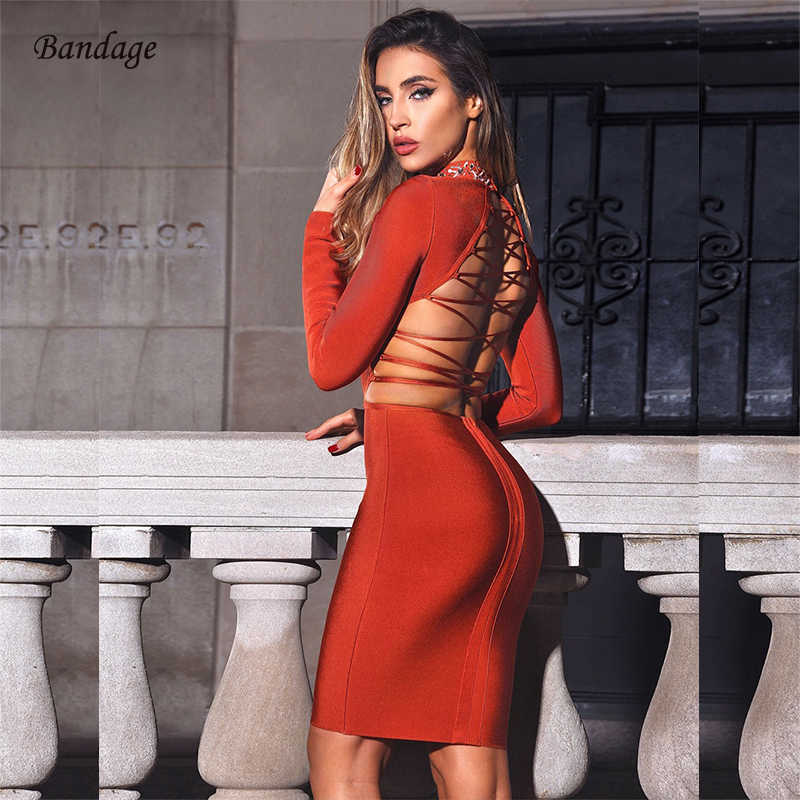 2020 Winter Vrouwen Jurk Bodycon O-hals Volledige Mouw Sexy Lace Up Backless Night Out Cocktail Party Club Bandage Jurk Vestidos