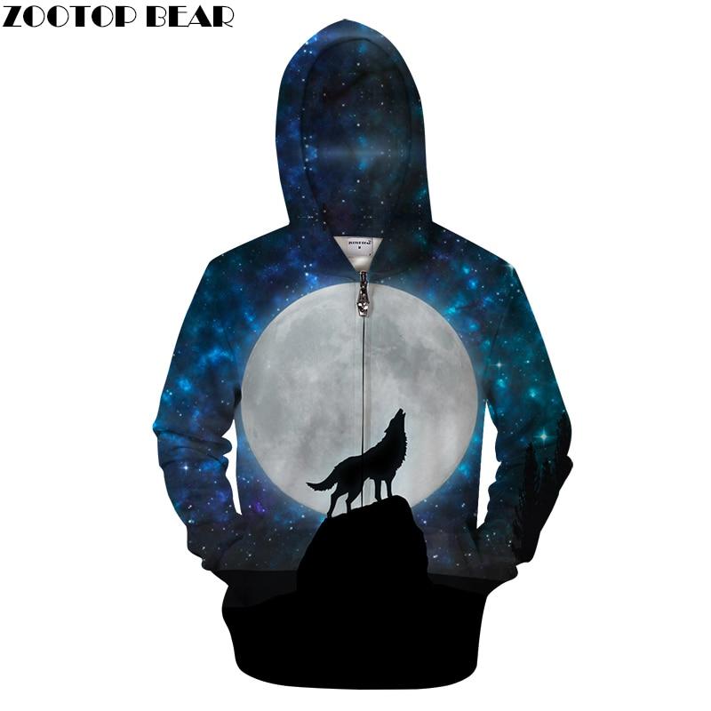 Enjoy Moon 3D Zip Hoodies Men Zipper Sweatshirts Wolf Pullover Novelty Tracksuit Fashion Hoody Streetwear Hooded DropShip ZOOTOP