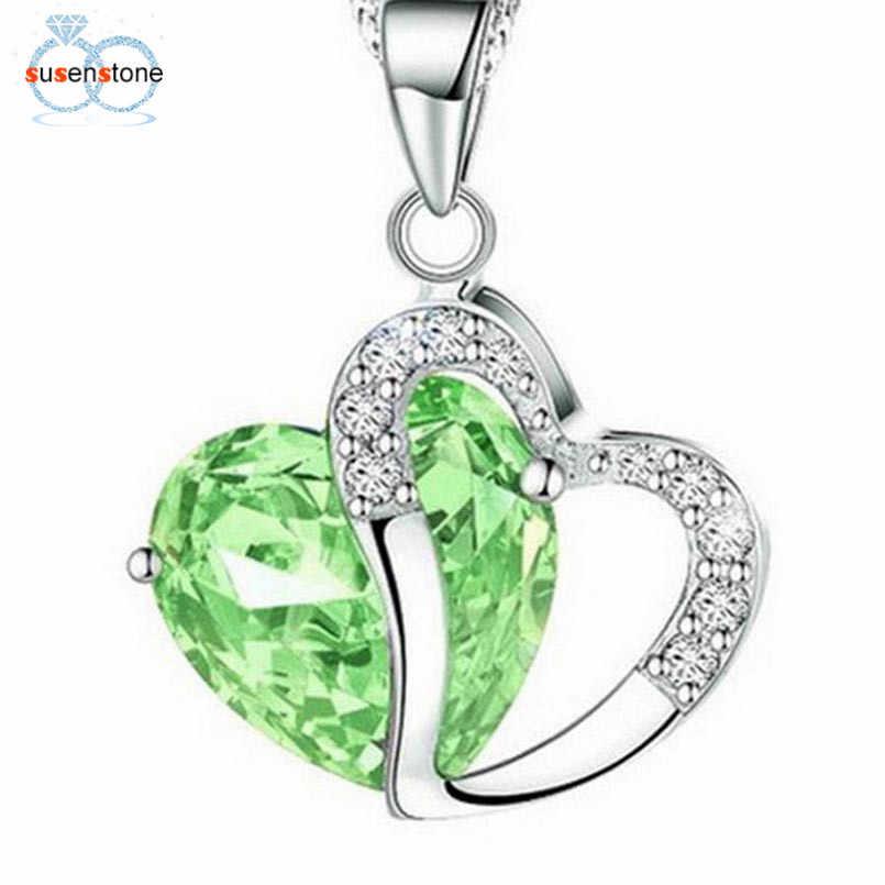 SUSENSTONE 2017 moda kobiety kryształ w kształcie serca Rhinestone wisiorek ze srebrnym łańcuszkiem naszyjnik biżuteria
