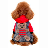 Dog's Clothes Teddy Autumn Winter Clothing Pet Puppy Four legged Clothes Lovely Cowboy Bib Pants Red Yellow Two Colors