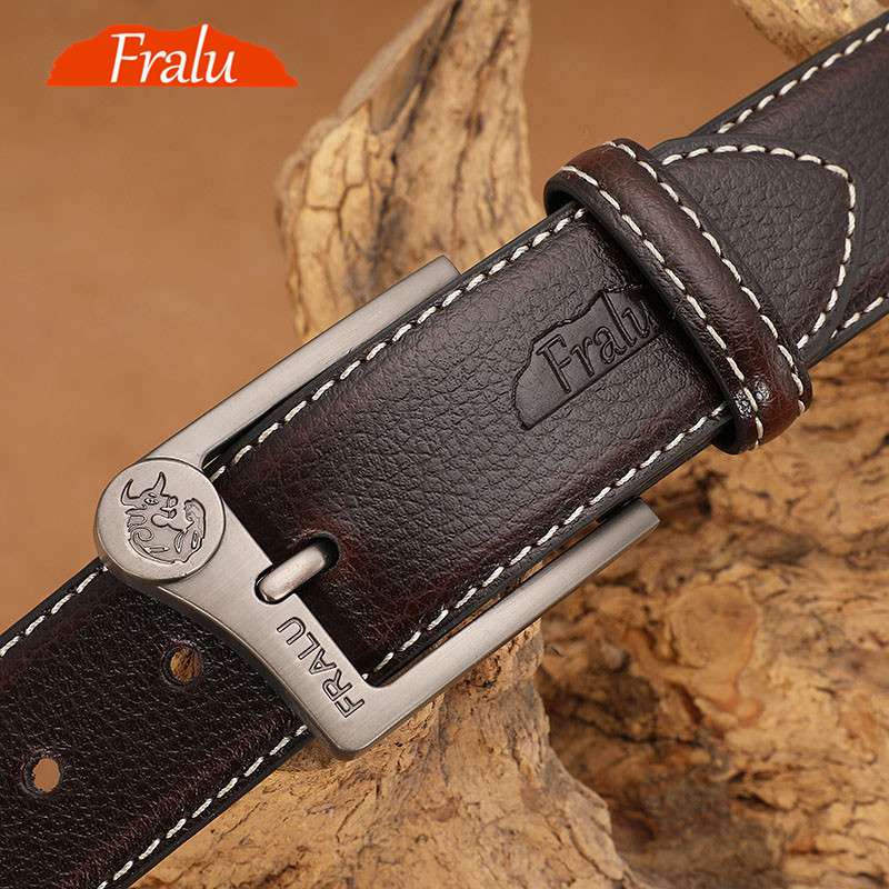 FRALU Men Belt High Quality Cow Genuine Leather Luxury Strap Male Belts For Men New Fashion Classice Vintage Pin Buckle