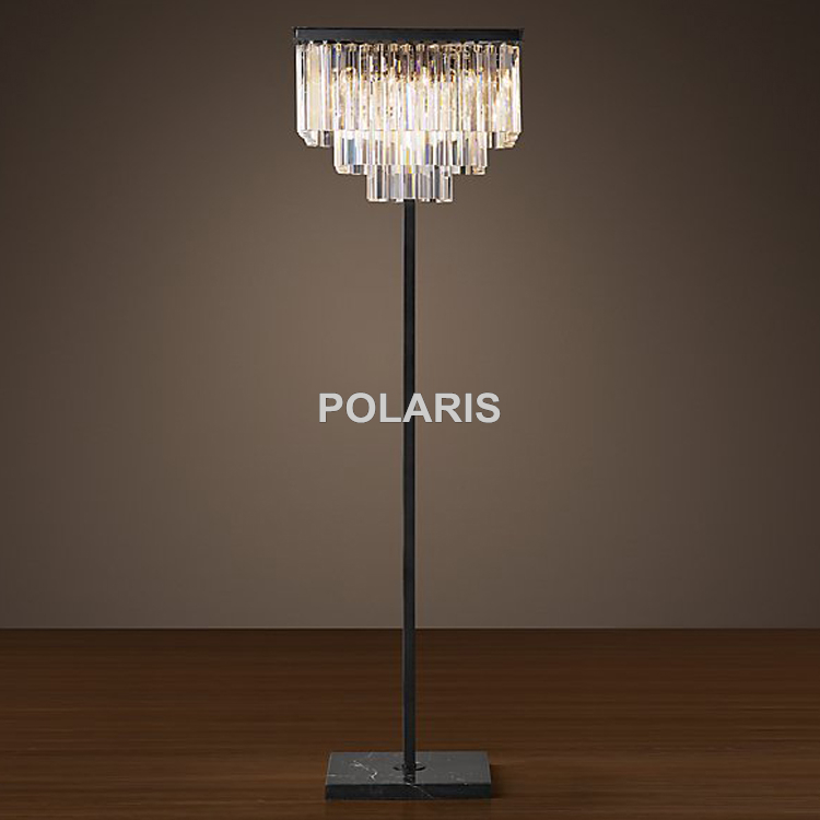 Factory Outlet Modern Vintage Square Crystal Floor Lamp
