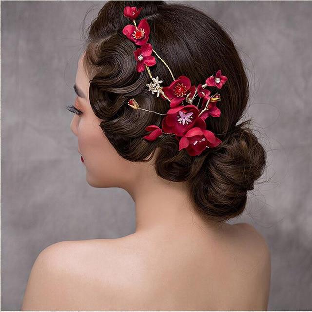 Aleación nupcial Hairband boda vintage simulado hermosas flores rojas  Bisutería para pelo novia tocado hecho a d1c803afa900