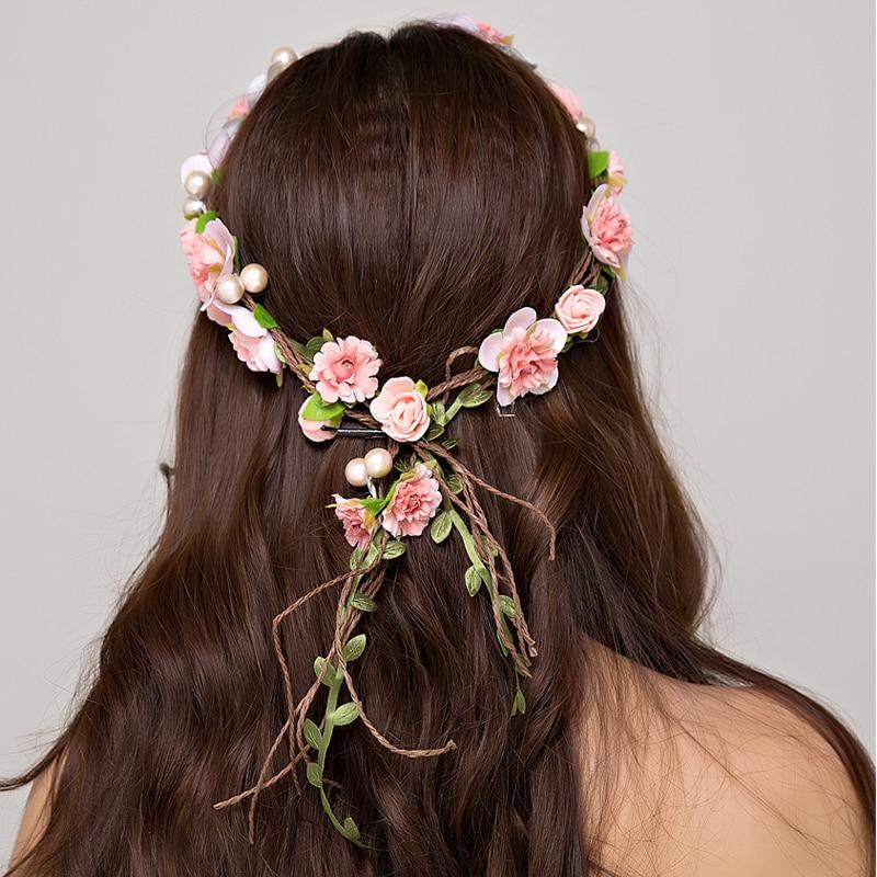 Ženy svatební květinový věnec koruna svatební vlasy čelenka dekorace květ koruny vlasy příslušenství nastavitelné strany girlandy