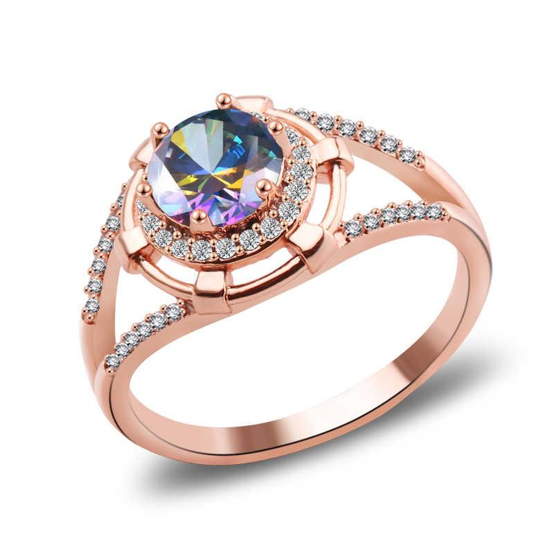 คุณภาพสูงแหวนคลาสสิกคริสตัล Zirconia GOLD/Silver Rose Gold สีเครื่องประดับสำหรับผู้หญิง gjft อุปกรณ์เสริม