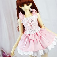 Athemis pink lolita cosplay outfit for mini doll size sleeveless dress lovely style handmade