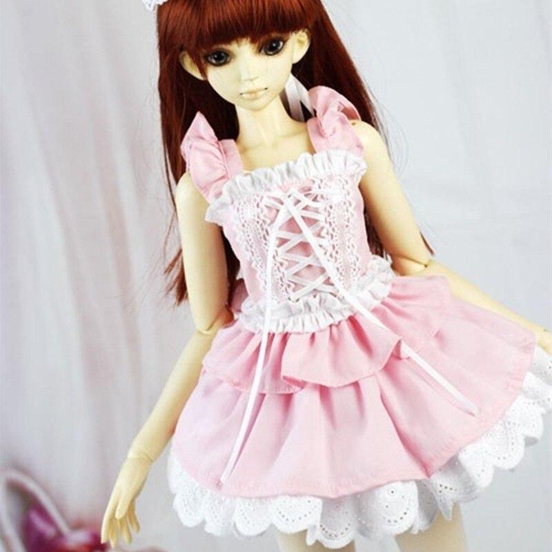 Athemis rose lolita cosplay tenue pour mini poupée taille robe sans manches belle style fait à la main