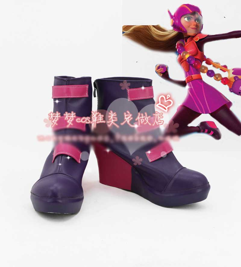 Big hero 6 Honey Lemon Cosplay Shoes Halloween Purple Short Boots Custom-made