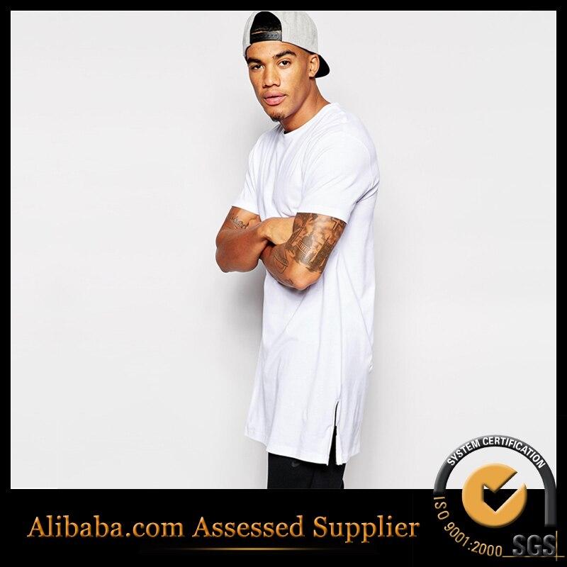 check out b07f2 71da2 US $12.9  T shirt uomo manica corta cerniera laterale lunga uomini di  grandi dimensioni di marca hiphop t shirt lonline design solido hip hop tee  ...
