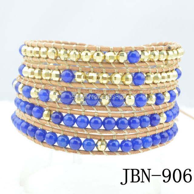 leather wrap bracelet   stone and Golden copper beads waving bangles  handmade jewelry JBN-906