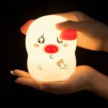 LED Night Light Cute Pig Unicorn Cat Silicone Soft Cartoon Lamp Bedroom Baby Children Birthday Christmas Kid Gift Toy