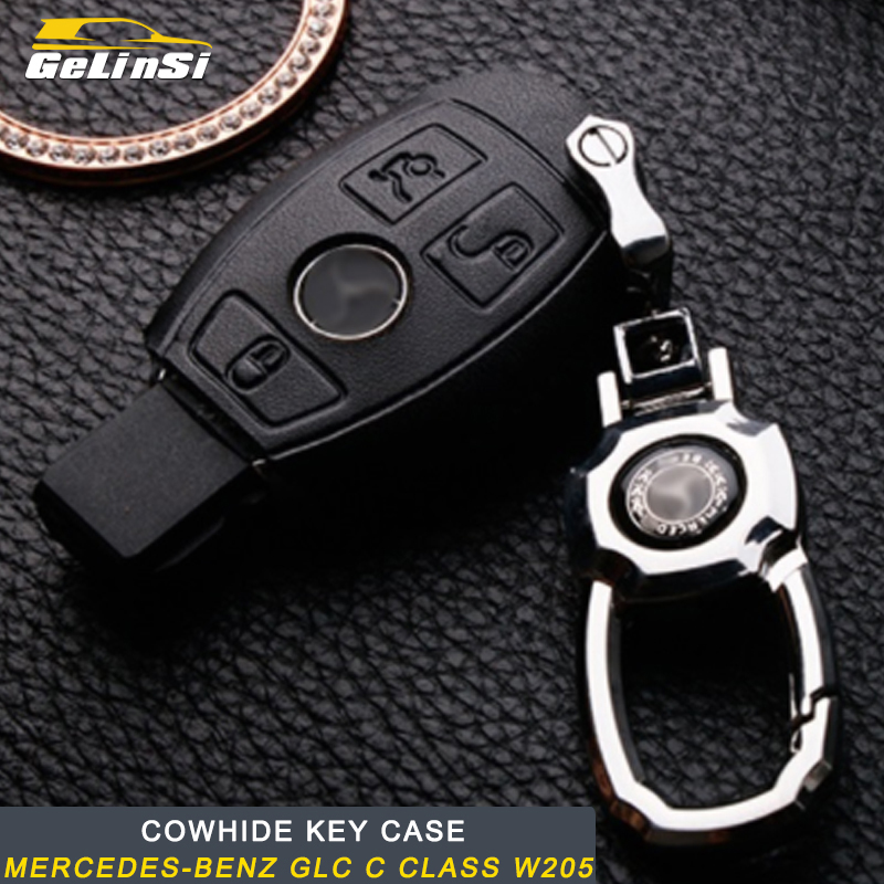 Gelinsi For Mercedes Benz A B C E S Class GLA CLA G500 GLE GLC ML GLK G Cowhide Genuine Leather Key Case Auto