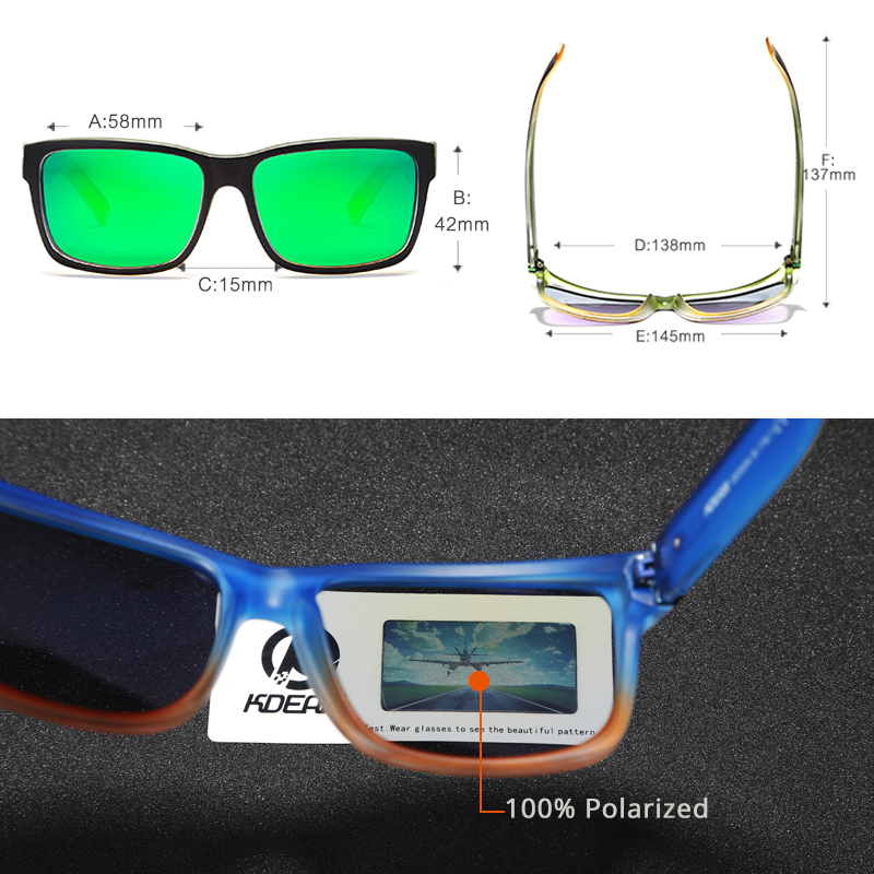 KDEAM Revamp Of Sport Men Sunglasses Polarized Shockingly Colors Sun Glasses Outdoor Driving Photochromic Sunglass With Box 3