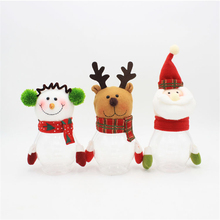 Santa Claus Snowman Elk Christmas Candy Jars Xmas Decoration for Home Christmas Gifts for Kids Cute Tree Ornaments