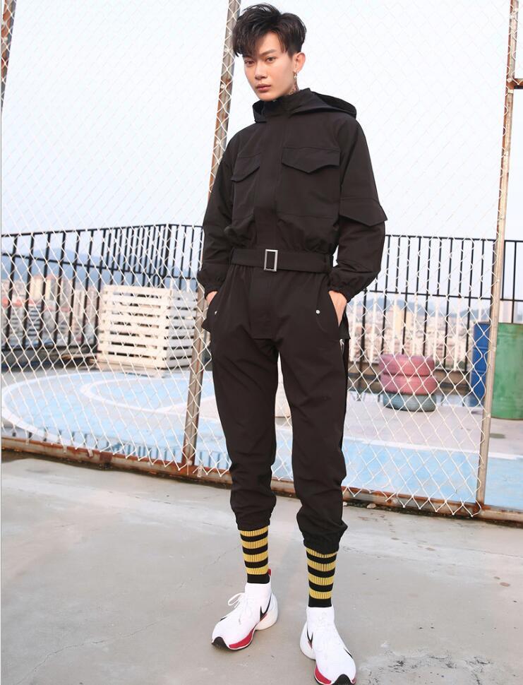 Ropa Del De Personalidad Moda Cantante Ocasional 2018 Nueva Conjoined Negro Vestido Estilista Pantalones Trajes Za4waP5q