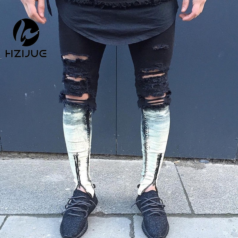 Knee Hole Ripped Black Mens Joggers Hip Hop Skinny Jeans Men Slim Fit Pants 2016 Side Zipper Pants For Male Goggers fashion mens male pants brand zipper jeans men hip hop pants slim hole patch casual jeans fashiontrouser for men free shipping