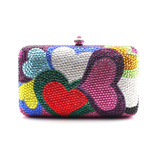Latest design colorful heart shape pattern crystal evening bags women clutch for wedding party purses (1003-CH) aidocrystal heart shape factory direct sell fashion woman diamond clutch for lady
