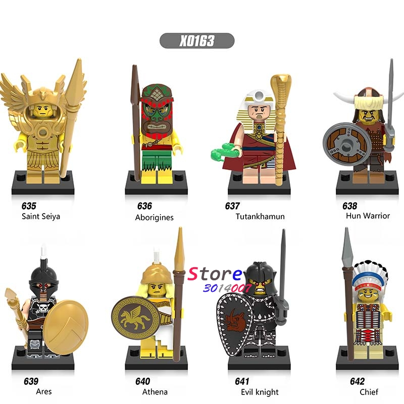 80pcs Medieval Saint seiya Aborigines Hun Warrior Ares Athena Evil Keight Chief collectible building blocks toys for children