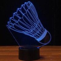 Badminton Modelling 3D Night Light USB 7 Colors Changing LED Table Lamp Kids Bedroom Sleep Lighting