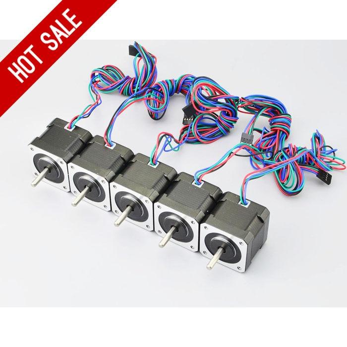 4 Lead Nema 17 Stepper Motor 5PCS Nema 17 Motor 42BYGH 40mm 1m Cable 2A 17hs4401 Step Motor for DIY 3D Printer CNC Robot