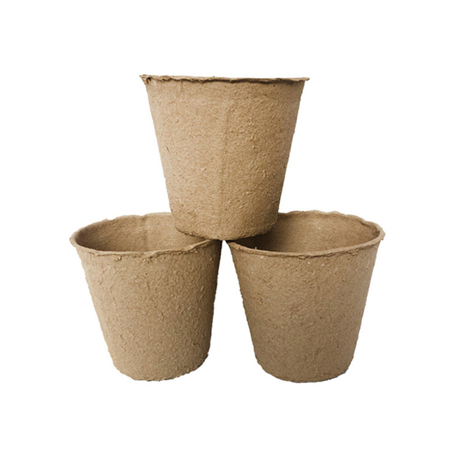 100pcs/set Biodegradable Fibre Peat Pot Seedling Grow Pots Nursery Cup Environmental Pulp Pots Garden Accessories