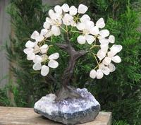 Rose Quartz Crystal Bonsai Gemstone Tree On Amethyst Crystal Base