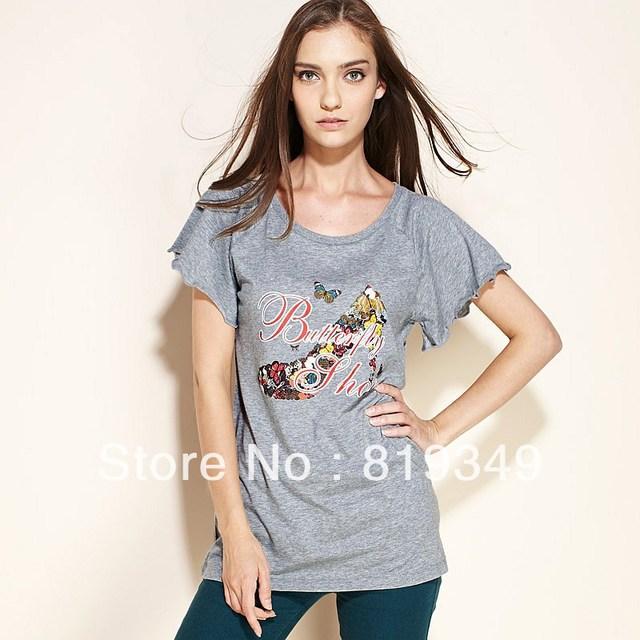 2013 New VANCL Women T-shirt Cotton Blend Butterfly Shoe Short Sleeves Raglan Sleeves Tee O-Neck  Light Pink/Gray FREE SHIPPING