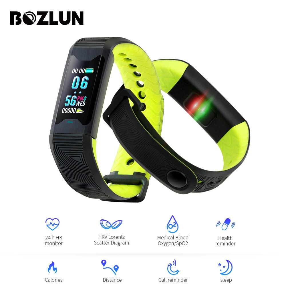 BOZLUN Braccialetto Intelligente di ossigeno Nel Sangue/HRV livello Medico Frequenza Cardiaca Bluetooth Inseguitore di Fitness Intelligente Wristband Della Vigilanza intelligente B31