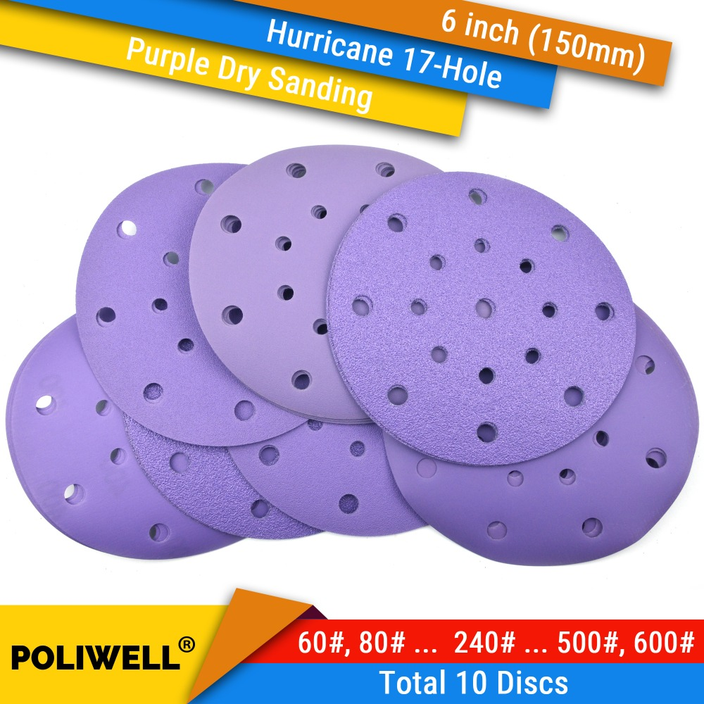 10PCS 6 Inch(150mm) Hurricane 17-Hole 60#-600# Grit Hook&Loop Sanding Discs For Dry Sanding Abrasive Flocking Sandpaper