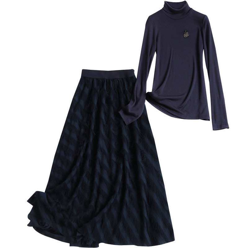 D'hiver Ol De Haute Set Mode 2 Pièces Deux Ensemble 2018 Bleu Marine Tricoté Jupe Coréenne Chemise col Costume Nouveau Jacquard Gland Soie Pièce Femmes Mousseline 0v0qAEwT