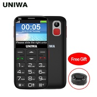 UNIWA V808G Old Man Mobile Phone 3G SOS Button 1400mAh 2.31 Curved Screen Cellphone Flashlight Torch Cell Phone For Elderly