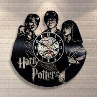 Harry Potter Hermione Granger Movies Vinyl Record Clock CD Record Clock Creative and Classic Room Art Decor Handmade LED Clock