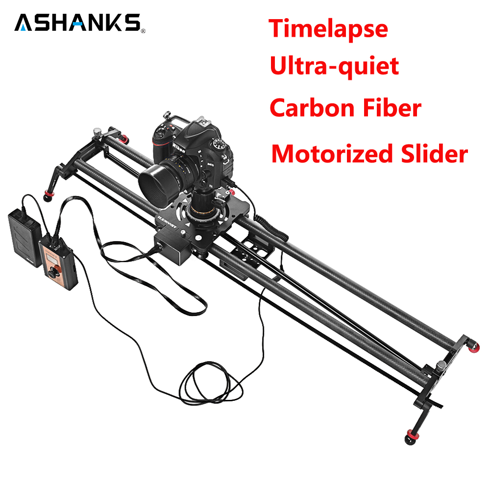 ASHANKS Stepper Motor Motorized Timelapse Video Slider Follow Focus Rail Carbon Slide for Electric Control DSLR Camera Shooting ashanks 80cm 6 bearings carbon fiber slider dslr camera dv track slide
