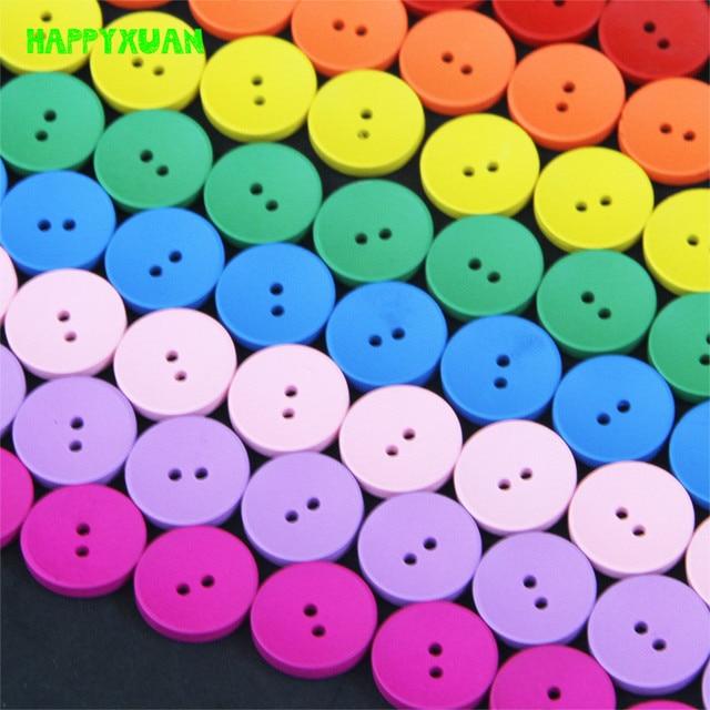 HAPPYXUAN 240pcs 8 Colors Mixed 2cm Wooden Button DIY Craft Materials Kindergarten Kids Creative