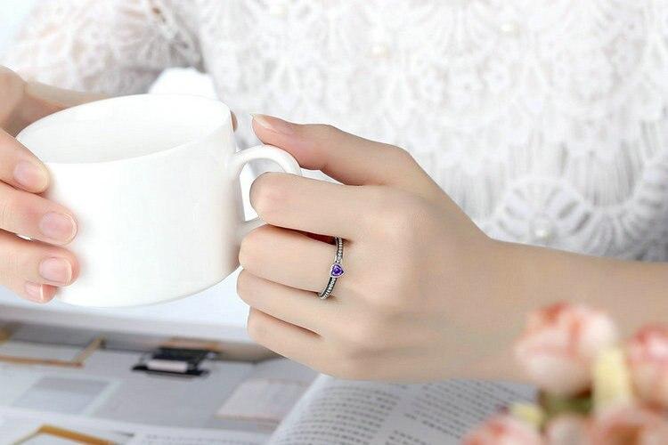 Brautschmuck Sets Aliexpress Heißer Verkauf Romantische Liebe Herz Ringe Für Frauen Original Marke Silber Farbe Ring Schmuck Fb7210 Schmuck & Zubehör