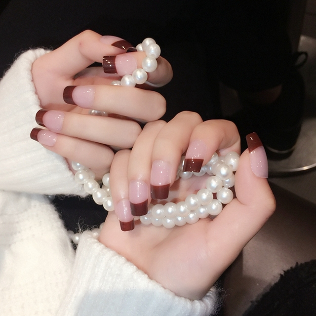 Transparent Brown French Nails Polished Chocolate Flat Acrylic Nails ...