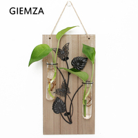 GIEMZA Glass Tube Vase Solid Wood Iron 1PC Hanging Glass Vases Wall Decorations Garden Outdoor Tool
