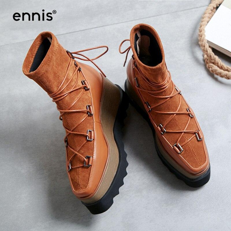 Otoño Alta Ennis Mujeres Zapatos Acuden Señoras Cuña Tobillo A857 Botas  Plataforma caramel Estiramiento Black Las ... ea63bf19083b