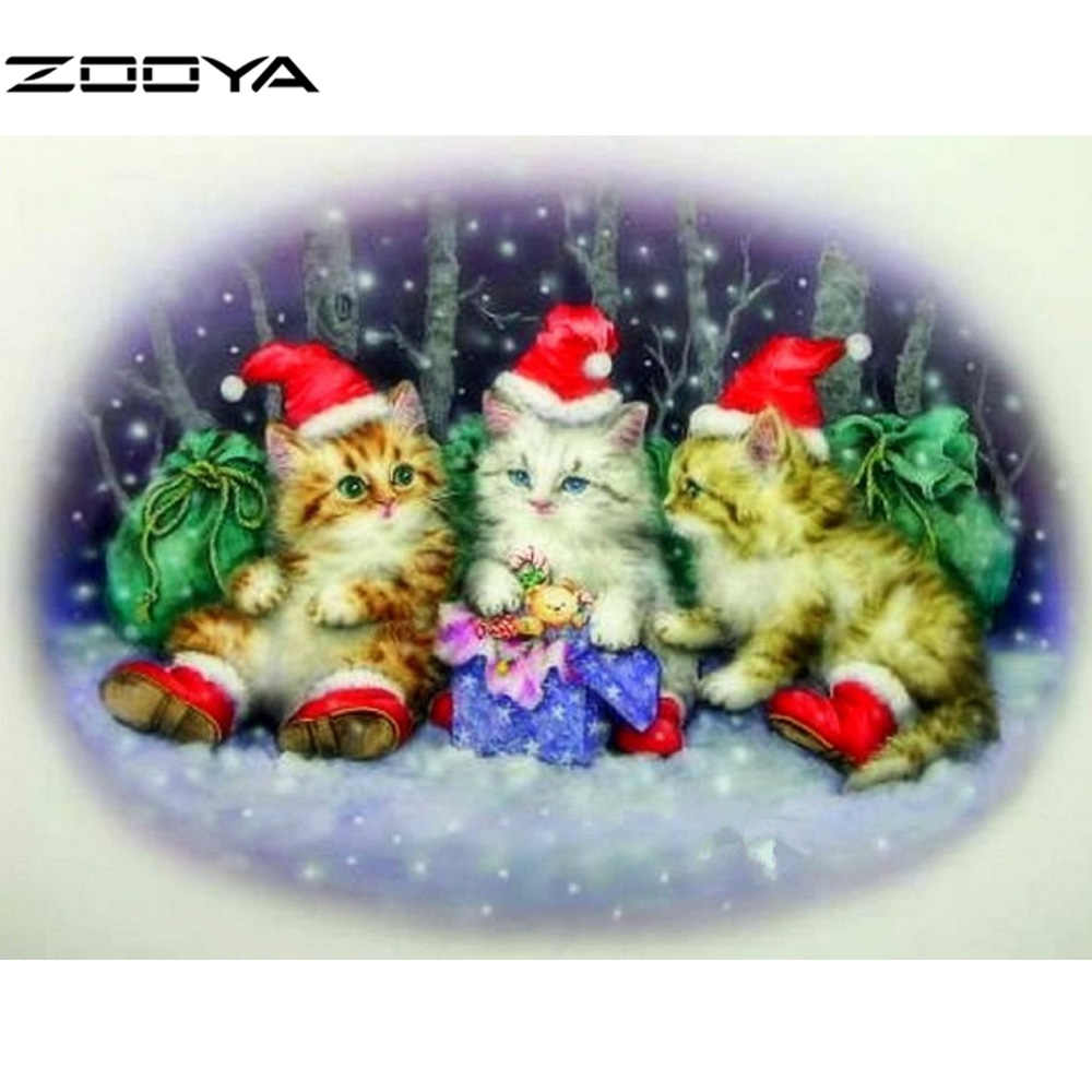 2016 5D Diy DiamondPainting Three Little Kittens With Christmas Hat Cross Stitch Gift Home Decor Full Diamond Embroidery F1075