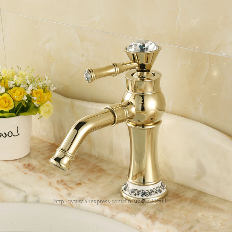 Free Shipping Gold Color Bathroom Faucet Lavatory Vessel Sink Basin faucet Mixer Tap Faucets Swivel Spout Single Handle 2241031C golden brass kitchen faucet dual handles vessel sink mixer tap swivel spout w pure water tap