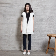 2016 New Women's Vest Long Fashion Design Solid White Chinese Japanese Traditional Style 100% Cotton Nakali F2043