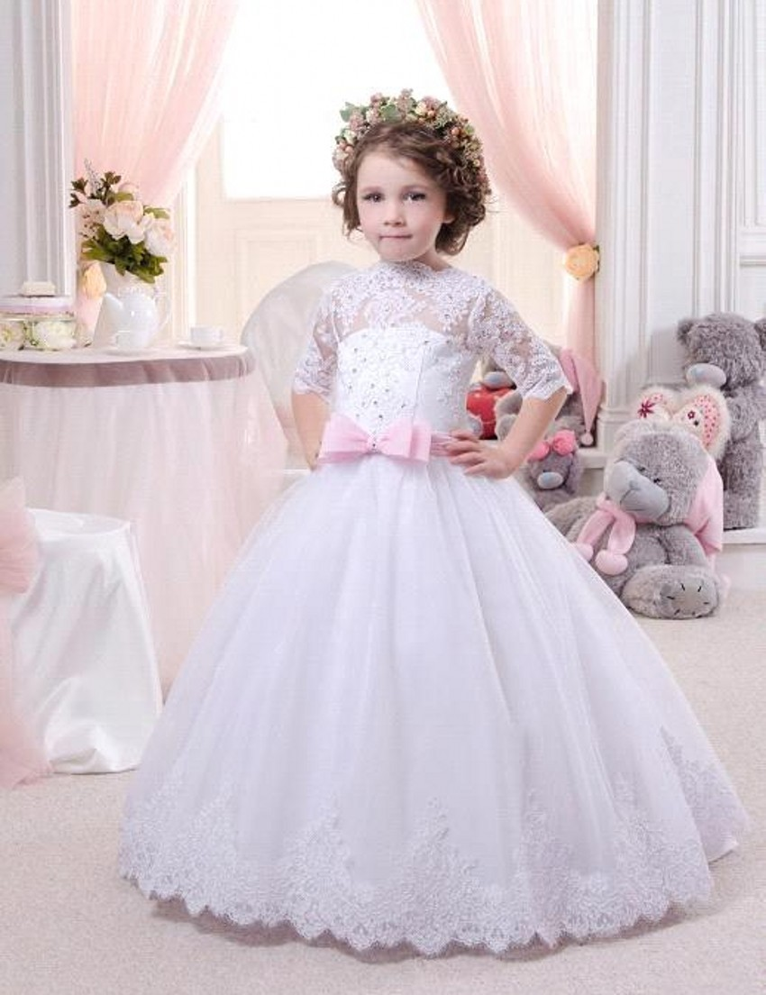 3/4 Sleeve Flower Girls Dresses For Wedding Gowns Ankle-Length Girls Pageant Dresses Lace Mother Daughter Dresses White Dresses elegant white flower girl dresses off shoulder 1 2 sleeve sweep train girls pageant dresses with lace top for wedding