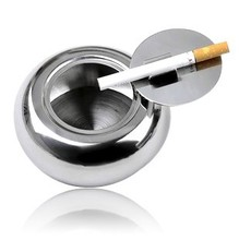 Fashion ashtray Upset drum design stainless steel with cover the  free shipping