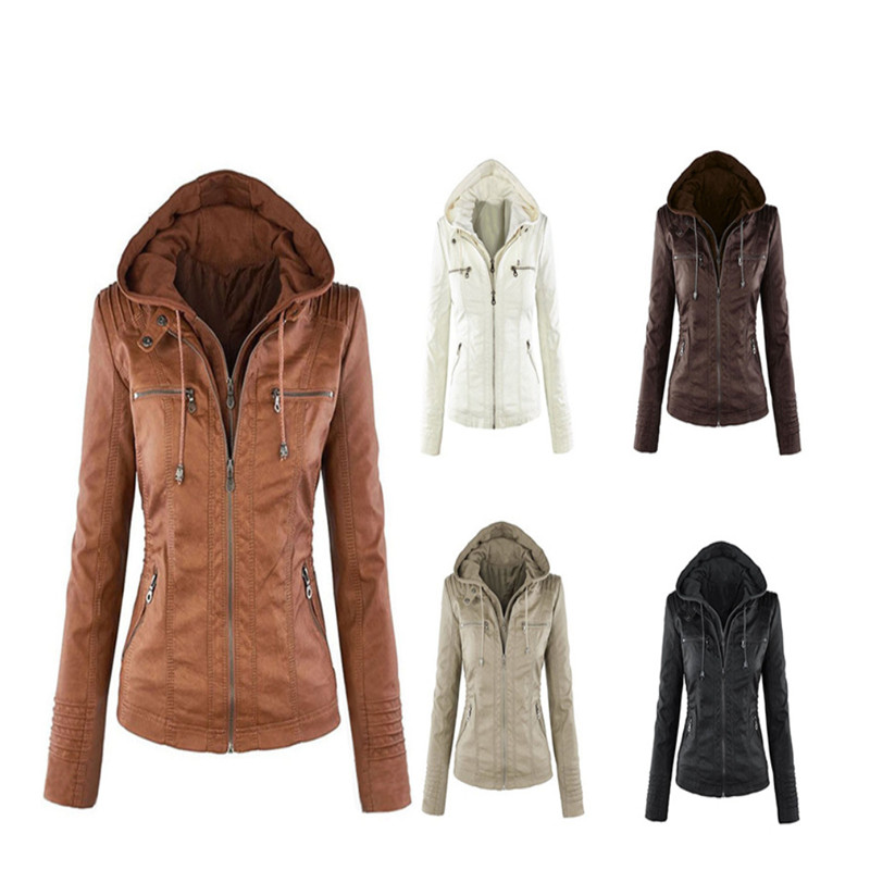 Women coffee Coat Warm Autumn Gothic Winter Casual Leather apricot Hoodies Motorcycle New brown Beige Jacket Pu black Slim Outerwear Faux Black p16P6txqWH