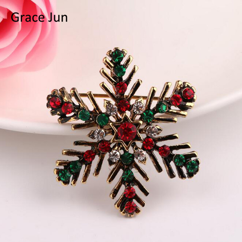 Grace Jun 2017 New Arrival Antique Gold Color Multicolor Rhinestone Snowflake Brooches Pin for Christmas New Year Gift ART DEC